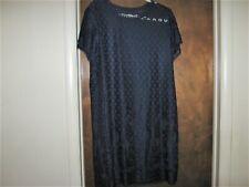 Isaac Mizrahi Live! XL Lace Navy Blue Short Sleeve Sheath Dress Scoop Neck
