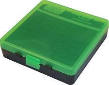 MTM PLASTIC AMMO BOX (2) GREEN / BLACK 100 Round 40 S&W / 45 ACP -FREE SHIPPING