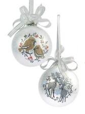 Bird & Reindeer Xmas Tree Decorations (silver) set of 4 Christmas Decor