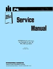 Farmall McCormick Hydraulic Lift-All H HV M MD MV MDV Tractor Service Manual IH