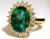 "GIA Certified 8.60ct natural green emerald diamonds ring 18kt ""F1"" Halo Prime+"