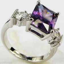 925 silver Filled Purple Sapphire Birthstone Engagement Wedding Ring Gift Size 8