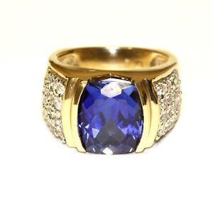 10k yellow gold cubic zirconium cz fancy cut sapphire mens ring 12.4g gents