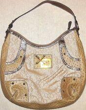 Xoxo Handbag Purse Hobo Bag Alligator Print Geometric Pattern Beige