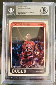 1998-89 Fleer Scottie Pippen rookie card w/ authentic OLDER signature BGS Rare
