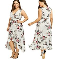 Women's Plus Size Floral V Neck Sleeveless Wrap Dress Flowy Beach Long Dress