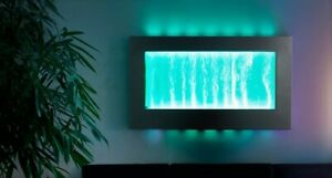 Bubble hanging landscape water wall with colour-changing leds.