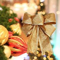 AU_ HO_ Big Bow Bowknot Christmas Tree Hanging Ornament Xmas Gift Present Decor