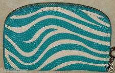 Womens Zippered Wallet Coin Purse-Teal w/White Stripe