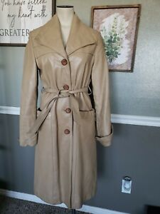 Genuine Leather Vintage Tan Trench Coat Made in the USA