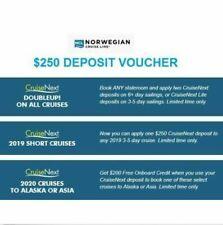 Norwegian (NCL) CruiseNext Credit Coupon Voucher Certificate $250, Exp: 2023