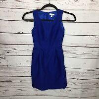 J Crew Womens 2 Blue Dress Fit N Flare Pleated Career Sleeveless Wool Silk K9