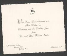 Christmas 1946.  Mr & Mrs Herbert Smith, 7 Greystoke Lodge, Ealing.  qq134