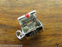 Vintage silver MOVABLE LID HEART HOPE CHEST w/ PEARLS BRACELET charm RARE #F