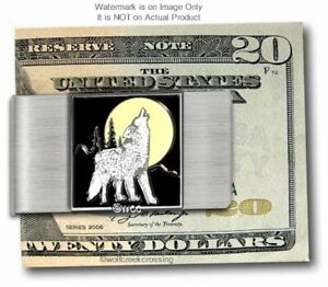 WOLF HUNTER'S YELLOW MOON MONEY CLIP SPORTSMAN WOLVES HOWL GIFT - FREE SHIP NEW'