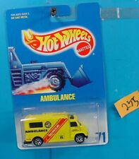 C235 HOT WHEELS 1991 COLLECTOR NO.71 AMBULANCE RESCUE YELLOW  NEW ON CARD