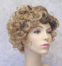 Short Curly Sandy Blonde, Dark Roots Heat Ok Full syntheti Wig - #45
