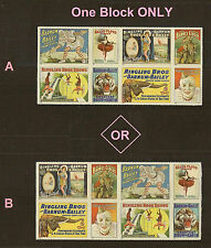 US 4905a Vintage Circus Posters forever block set (8 stamps) MNH 2014