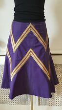 Karen Miller púrpura Tribal Gypsy Hippy Boho algodón señoras Flippy Falda Talla 10