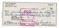 Tony Canadeo signed autographed check! RARE! AMCo Authenticated!