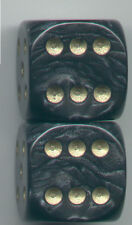 New Dice Set of 2 D6 (22mm) - Pearl Black