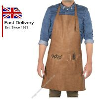 APRON Barbers Hairdressing Retro Traditional BROWN BARBURYS Synthetic Leather