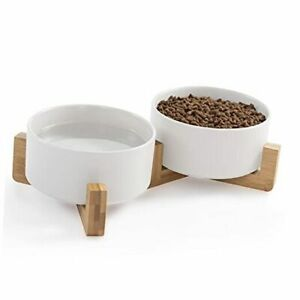 Cat Bowls, Puppy Ceramic Food and Water Bowls Set, 1 3/4 White+White & Wood
