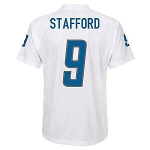 Detroit Lions NFL Stafford #9 White Boys 4-7 Player T-Shirts/Jerseys: S-L