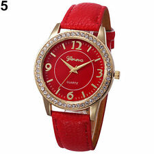 Ladies Fashion Geneva Quartz Gold Tone Rhinestone Red Leather Band Wrist Watch.