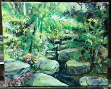 Original Art Landscape Oil Painting Forest Brook 10x8 Stretched Canvas Framed