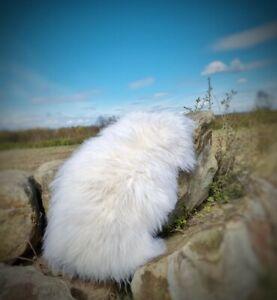 XXXL 110cm by 75cm Genuine Fluffy British Cream Sheepskin Rug A+++