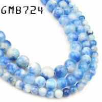 Natural Dark Blue White Persian Jade Stone Round Loose Beads for Jewelry Making