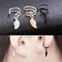 1pair Fashion Punk Rock Women Earrings Ear Clip Cuff Wrap No Piercing-Clip On