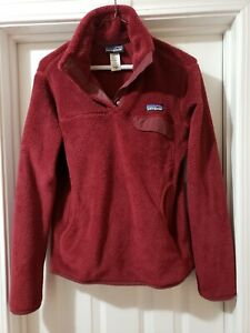Women's Patagonia Snap T Thick Fleece Sweatshirt Pullover - M- Burgundy