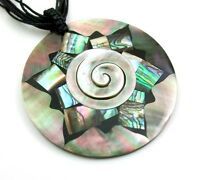 Natural Abalone Shell Mother of Pearl Pendant Cord necklace Women Jewelry BA141