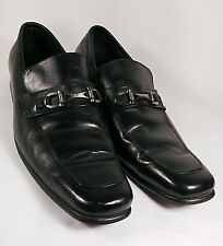 GUCCI Black Leather Silver Horse Bit Slip-On Loafers Men's US 8.5/ EUR 42 Italy