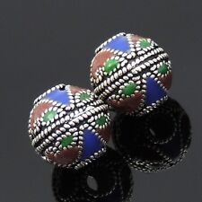 2 Beads S925 Sterling Silver Hand-painted Nepalese Tibetan Charms/Beads WSP012X2