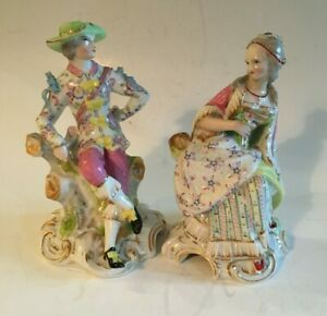 Pair of Antique French Jacob Petit Figurines