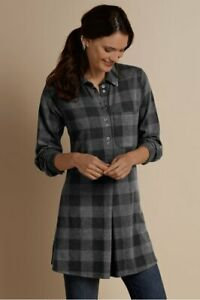 (M) - SOFT SURROUNDINGS Mad About Plaid Tunic Top Charcoal Women's Size Medium