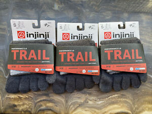 New Injinji Performance Trail Midweight Mini Crew Granite Small Toe Socks 3 pack