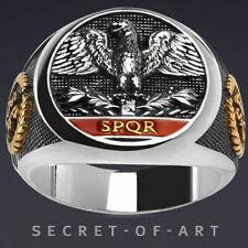 Imperial Roman Ring Eagle SPQR Silver 925 Aquila Legion Empire Gold-plated Parts