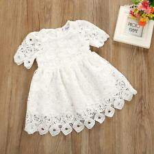 Toddler Infant Baby Girl Floral Lace Short Sleeve Princess Formal Dress Outfits White 6 Months