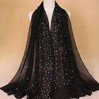 Shiny Rhinesetone Pearls TR Cotton Islamic Muslim Scarves Hijab Scarf Head Wraps