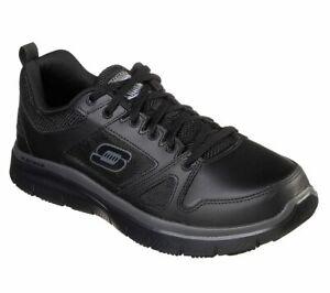 77040 Skechers Mens Flex Advantage Slip Resistant Leather Work Uniform BLACK A5