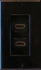 Black HDMI Wall Plate Dual Outlet  - Media Room Series