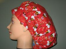 Surgical Scrub Hats/Caps Valentines Days Bee Mine! Red with bees & sparkly Gold