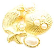 Vintage Brooch Pin NAUTICAL Seashell Pearl Starfish Cluster Very Pretty!