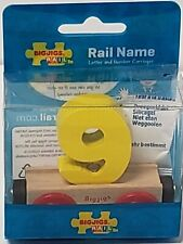Bigjigs Rail Car Number 9 Yellow Collectible Wooden Train