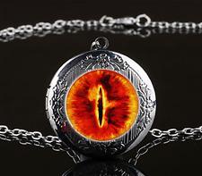 Dragon Eye Photo Cabochon Glass Gun Black Chain Locket Pendant Necklace#Q7