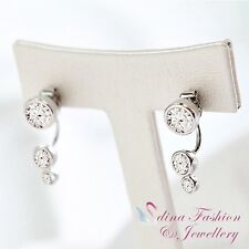 925 Sterling Silver AAA Grade Cubic Zirconia Round Slim Double Sided Earrings